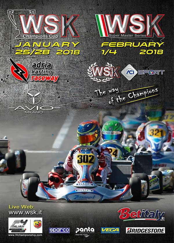 220 miembros en la WSK Champions Cup, en Adria del 25 al 28 de enero