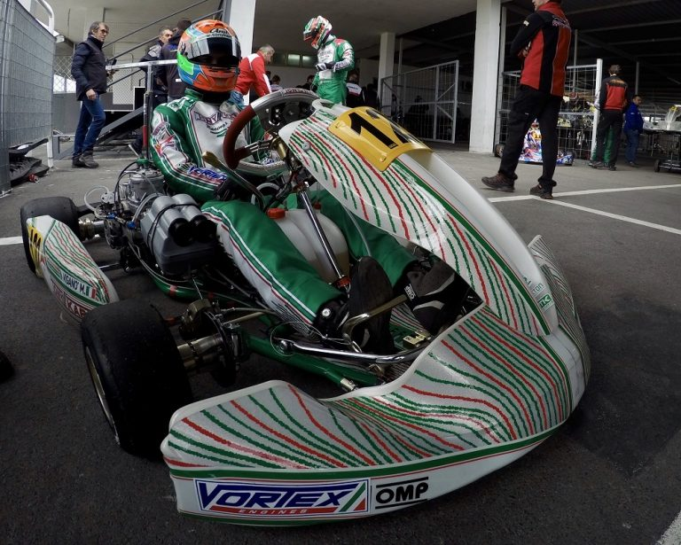 Tony Kart uses during a race the new aerodynamic front spoiler
