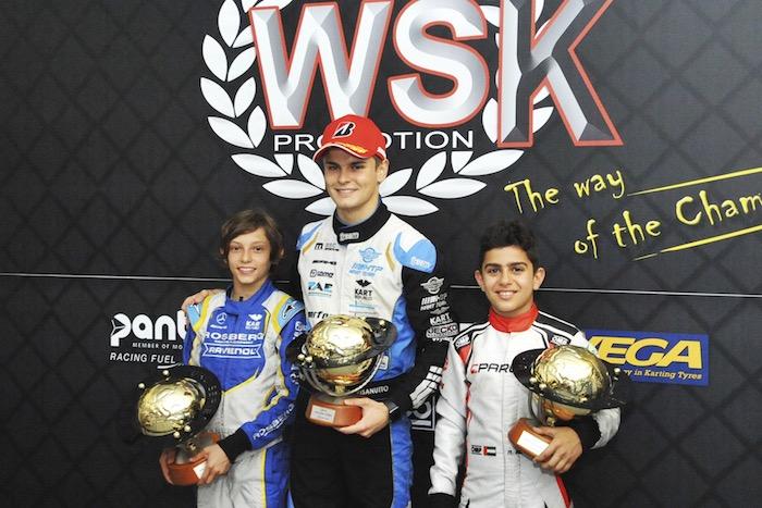 Travisanutto (OK), Antonelli (OKJ) e Al Dhaheri (60Mini) vincitori con Ardigò (KZ2) della WSK Euro Series 2019