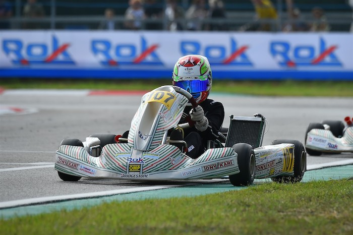 NEWMAN Motorsport and Andrea Filaferro immediately at the top in their Junior Rok debut in the Italian Final Rok Cup Italia
