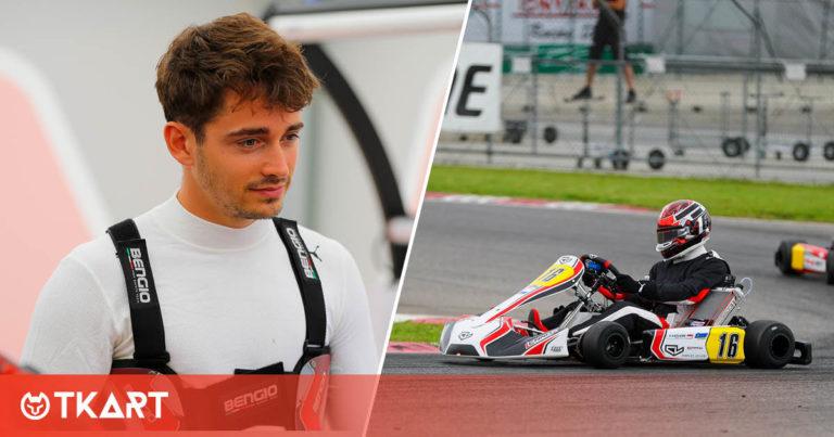 Charles Leclerc en la pista con su kart de Birel Art después del largo descanso