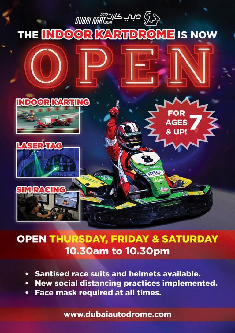 Il Dubai Kartdrome Indoor è ora aperto per tutti gli ospiti dai 7 anni in su!